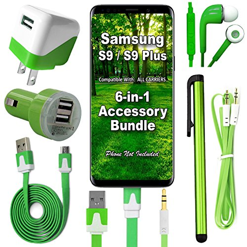W-Wireless 6 Item Accessory Bundle for Samsung Galaxy Note 8 / S8 / S9 / S9 Plus Includes: Car Charger, Home Charger, USB Data Cable, Stereo Headset, Aux Cord & Stylus Pen (Black Kit) (Green Kit)