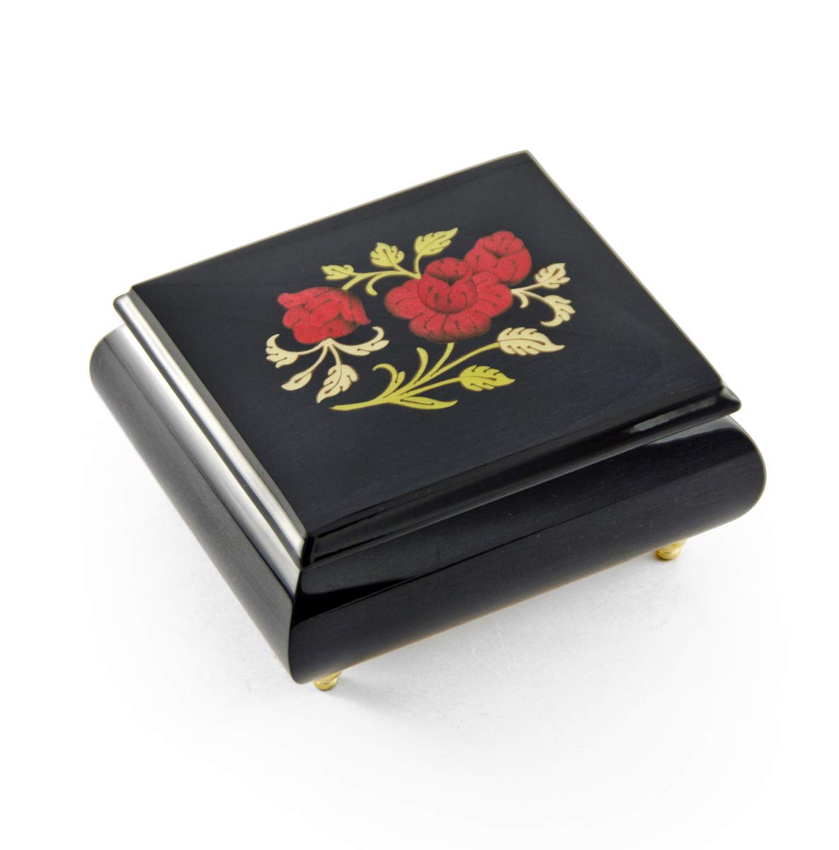 Enchanting Midnight Black with Red Rose Wood Glossy Sorrento Inlaid Music Box - Over 400 Song Choices - You are My Sunshine