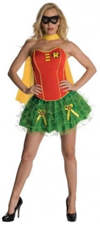 HarrowandSmith British Fashion Store Women's 4pcs Robin Super Hero Cosplay Halloween Fancy Dress Skirt Corset Mini Skirt Bubble Hem Costume Carnival Casual wear, UK 10-12 HS:9322