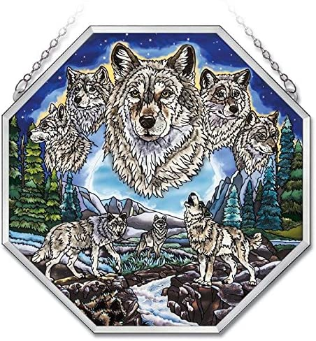 Amia 41729 Hand-Painted Ripple Glass Octagon Window Decor Panel, Wolf Pack Design, 15-Inch