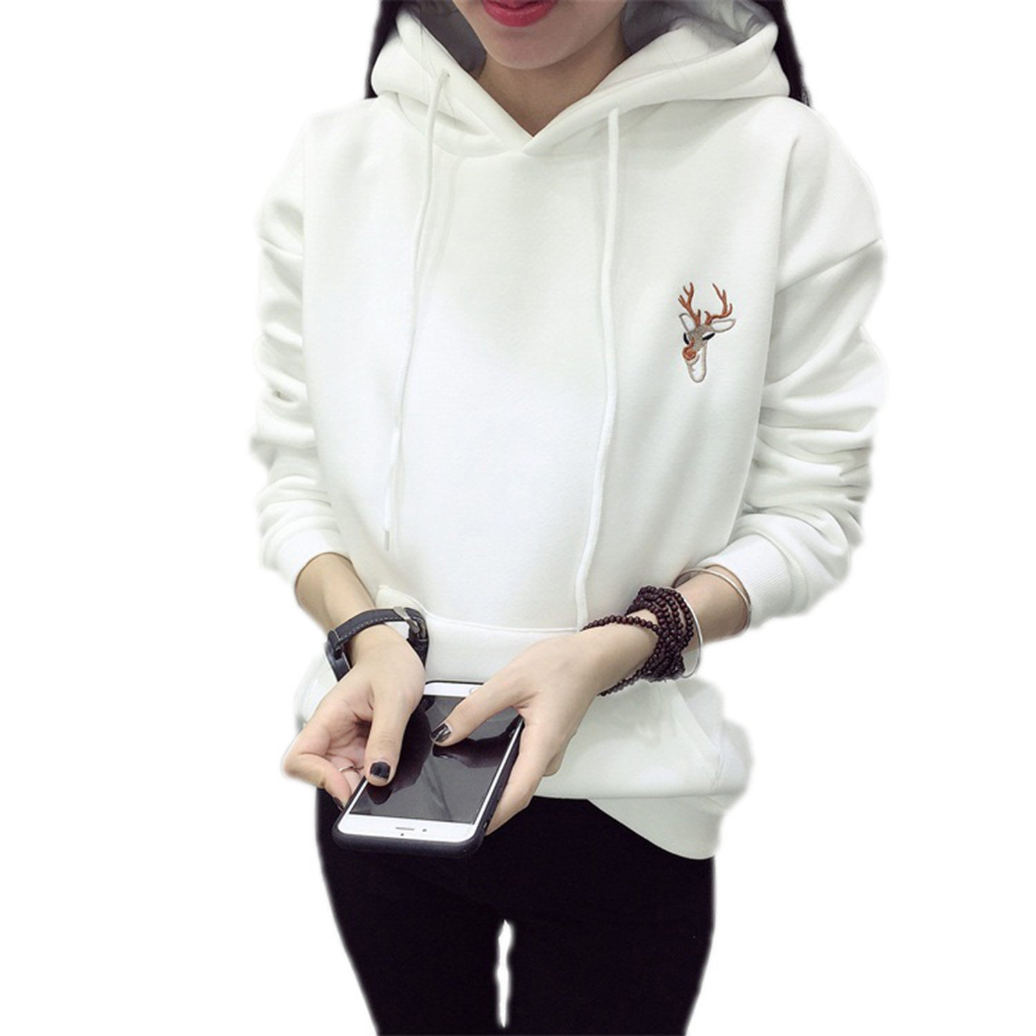 MZjJPN Fashion Embroidery Hooded Tracksuits For Women Casual Sweatshirts Hoodie Lovely