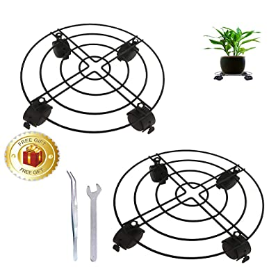 Plant Caddy with Wheels Metal Rolling Plant Dolly Patio Flower Pot Rack on Rollers Indoor Outdoor 2 pack 12 inches: Home Improvement