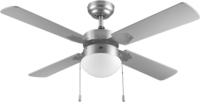 Cecotec Ventilador de Techo ForceSilence Aero 450. 106 cm de Diámetro, Luz, 4 Aspas Reversibles, 3 Velocidades, Función Invierno, 50W