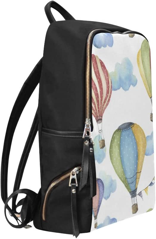 Book Bag Retro Vintage Hot Air Balloon with Rainbow Backpack