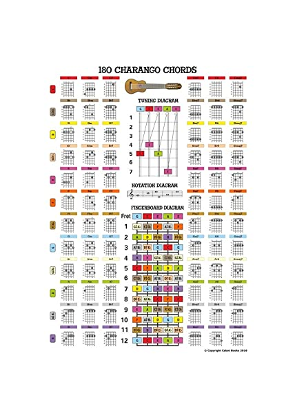 Charango Chord Poster A3 Size Double Sided 160 Chords Laminated