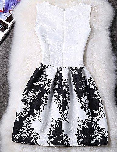 PU&PU Robe Aux femmes Gaine Street Chic,Fleur Col Arrondi Au dessus du genou Polyester , white-xl , white-xl