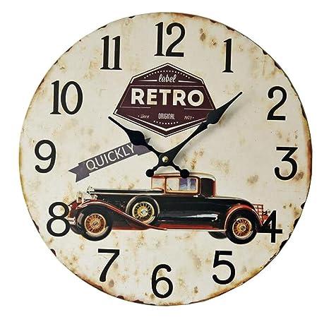 Restaurant del hotel de los coches clásicos retro muet sólido madera decorativo pared reloj RETRO colgante
