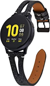 Greaciary Glitter Leather Band Replacement for Samsung Galaxy Watch Active 2 44mm/40mm Galaxy Watch 42mm Band, Women Soft Slim Leather Strap Compitable with Galaxy Watch Black