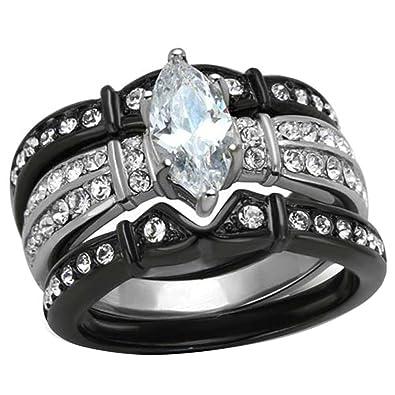 black stainless steel marquise cubic zirconia wedding ring set women size 5 - Womens Black Wedding Rings