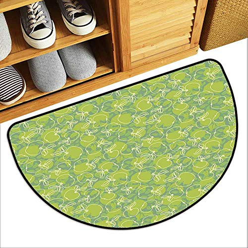 DILITECK Waterproof Door mat Apple Abstract Apples with Leaves Healthy Living Themed Ornaments Nature Freshness Machine wash/Non-Slip W24 xL16 Apple Green Cream