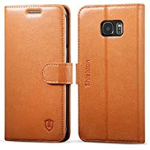 Galaxy S6 edge plus Leather Case, Galaxy S6 edge plus Wallet Case, SHIELDON Genuine Leather Flip Book Case Cover with Stand & Card Slots [Magnetic Clasp] [Lifetime Warranty] for Samsung Galaxy S6 edge plus, Tan Brown