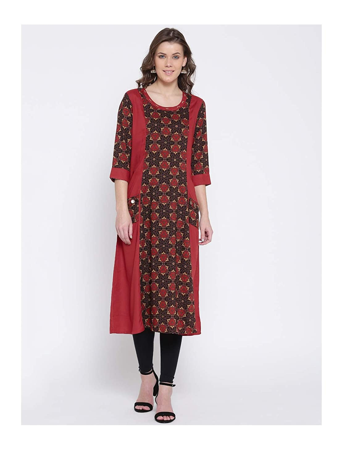 4acd3dba71ab5 Amazon.com  Hiral Designer Plus Size Indian Kurti for Women Red   Black  Printed A-Line Kurta Cotton Dresses  Clothing