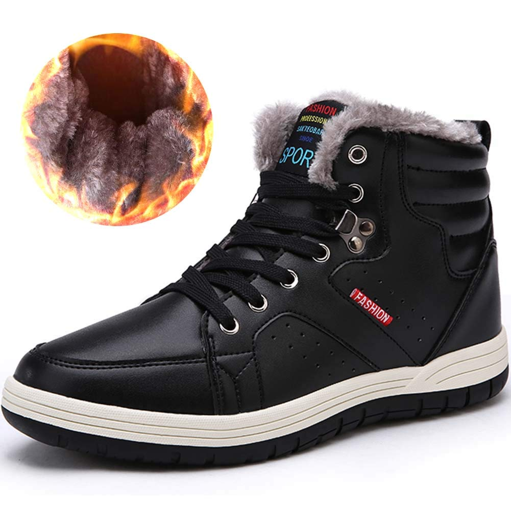 FiveStoresCity Men Snow Boots Winter Leather Boots Fur Lined Outdoor Shoes High Top Sneakers
