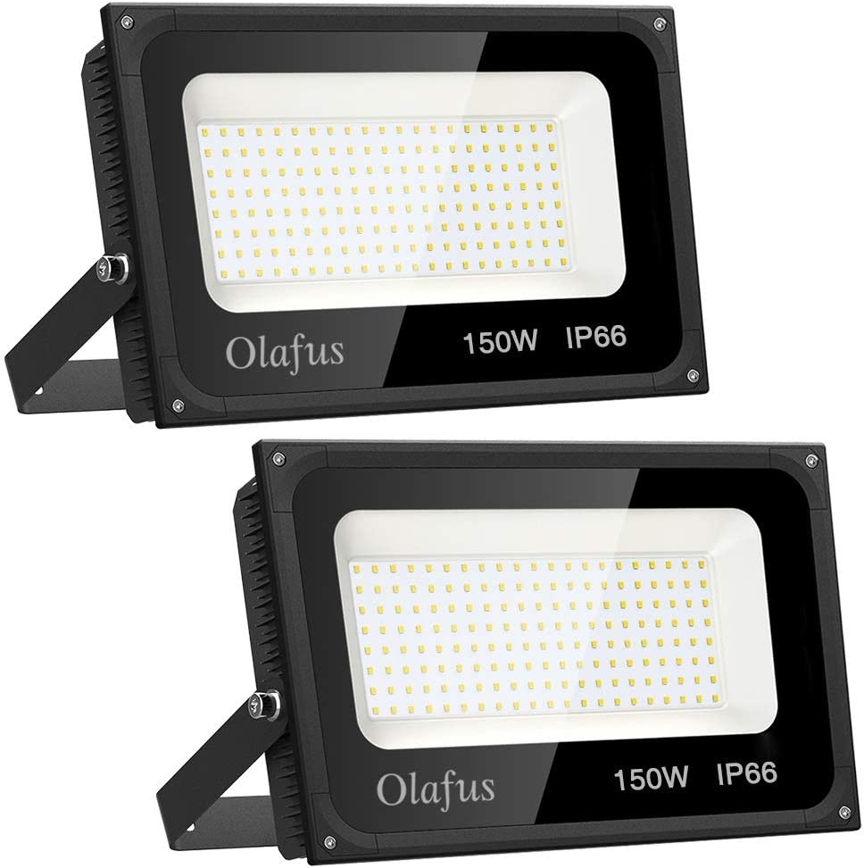 Olafus 2 Pack 150W LED Flood Light Outdoor, 15,000lm Super Bright Floodlights, IP66 Waterproof Exterior Security Light, 5000K Daylight White Lighting for Stadium, Lawn, Playground, Yard, Garden