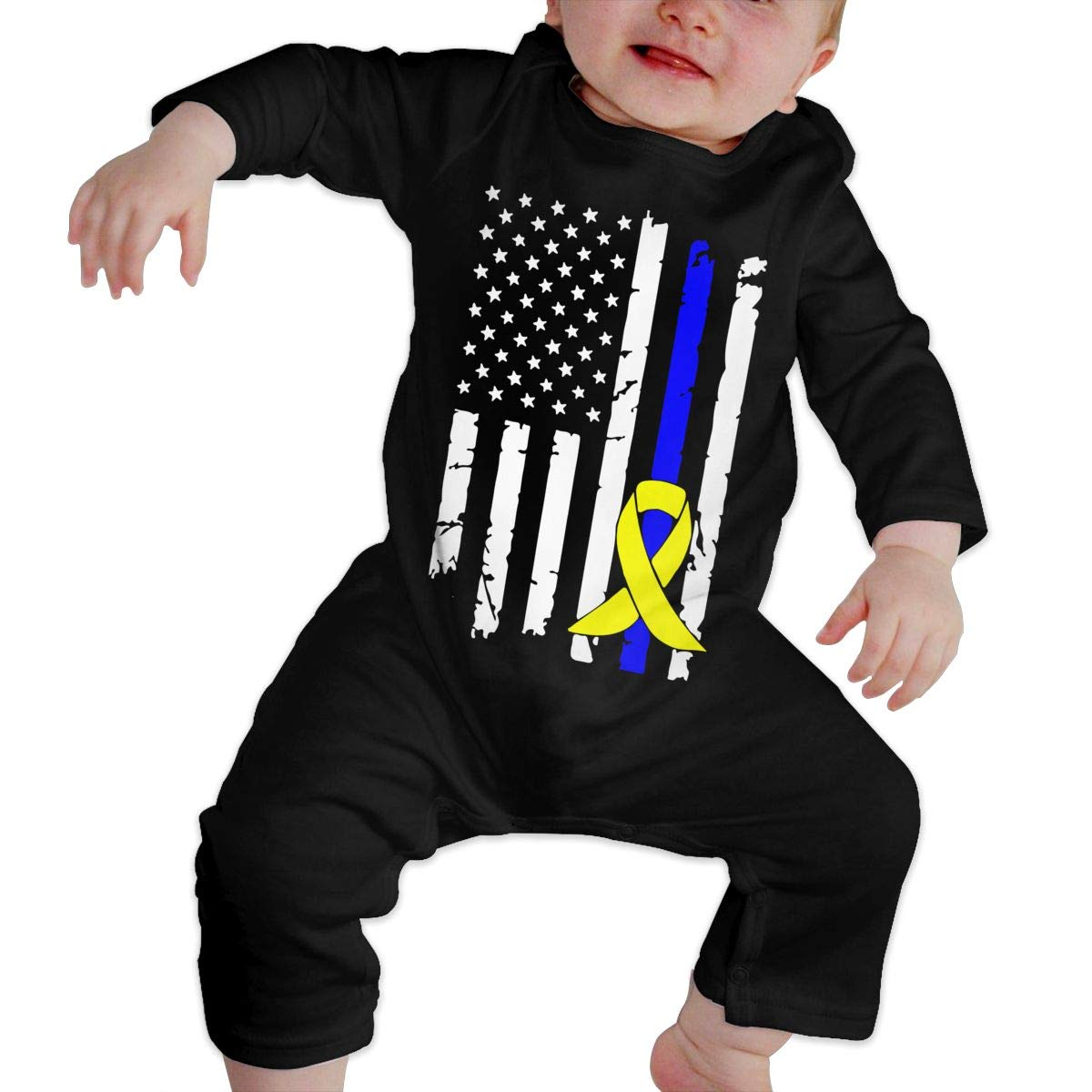 A1BY-5US Newborn Baby Boys Girls Long Sleeve Down Syndrome Cancer Awareness USA Flag Jumpsuit Romper One-Piece Romper Clothes