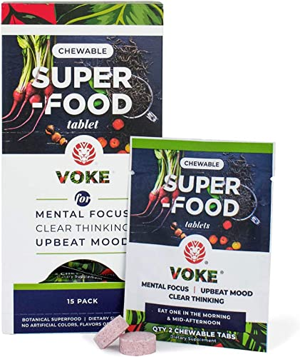 Voke Energy Jitter-Free, All-Day Packs for Energy, Mental Focus, Upbeat Mood and Clear Thinking 30 Chewable Superfood Tablets with Vitamin C Antioxidants 15 Day Supply