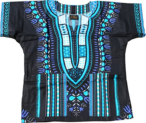 Raan Pah Muang RaanPahMuang Unisex Childrens African Dashiki Throw Over Bold Print Boubou Shirt, 6-8 Years, Black - Blue