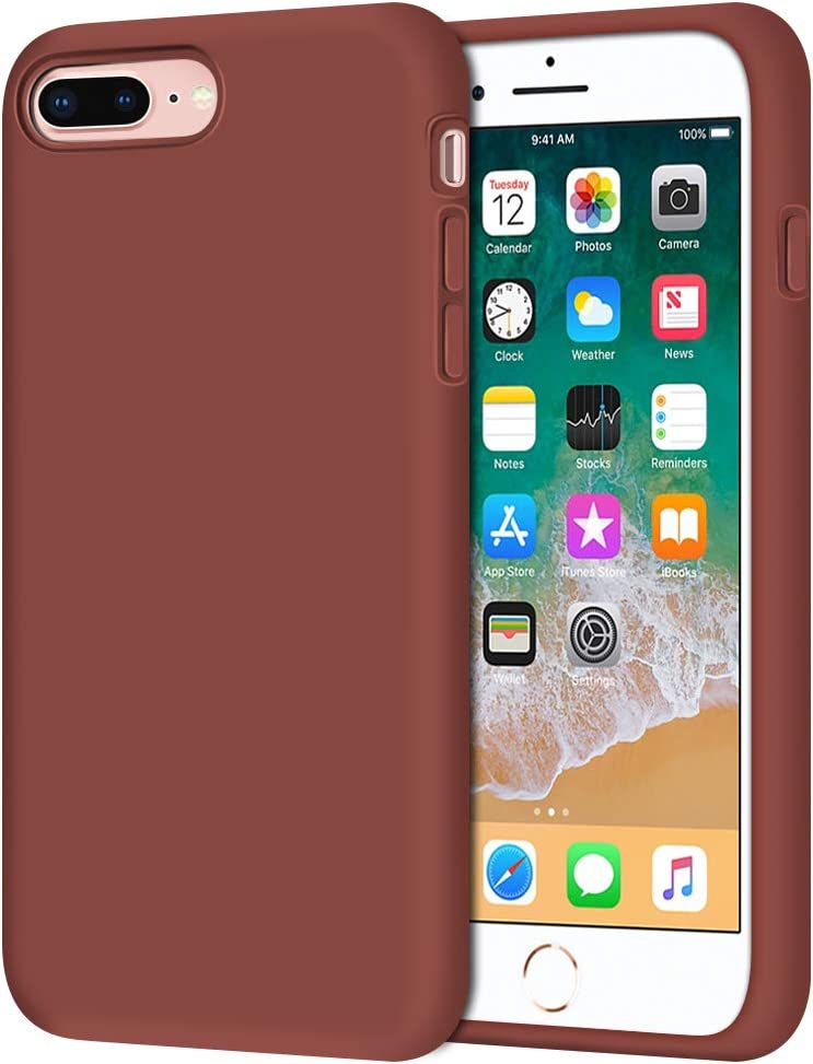 """iPhone 8 Plus Case, iPhone 7 Plus Case, Anuck Soft Silicone Gel Rubber Bumper Case Microfiber Lining Hard Shell Shockproof Full-Body Protective Case Cover for iPhone 7 Plus /8 Plus 5.5"""" - Caramel"""