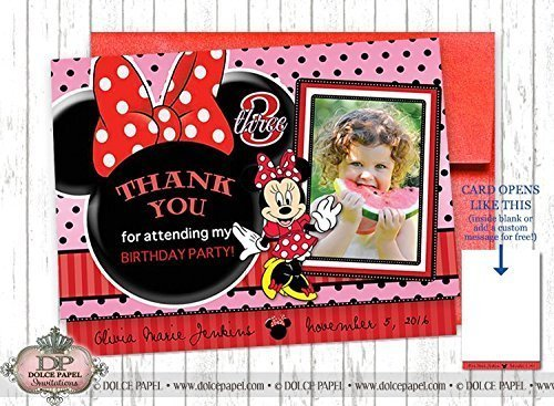 10 PRINCESS MINNIE MOUSE Red and Pink Metallic Birthday Party Thank You Cards Specialty Folding Card 4.25x5.5 (Minnie Mouse Invitations Red)