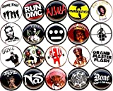 "Panic Buttons Hip Hop Rap set of 20 NEW 1"" inch pin old school gangster east west coast LA NYC bronx"