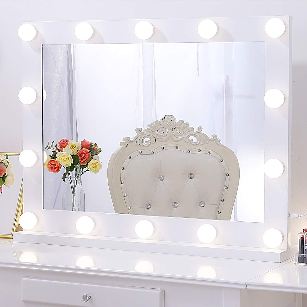 "Chende Hollywood Lighted Makeup Mirror with 14 LED Light Bulbs, Lighted Vanity Mirror for Wall with Touch Control Dimmer in Makeup Studio, 3 Color Lighting Modes (31.5"" X 23.6"")"