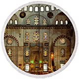 Pixels Round Beach Towel With Tassels featuring ''Interiors Of A Mosque, Suleymanie'' by Pixels