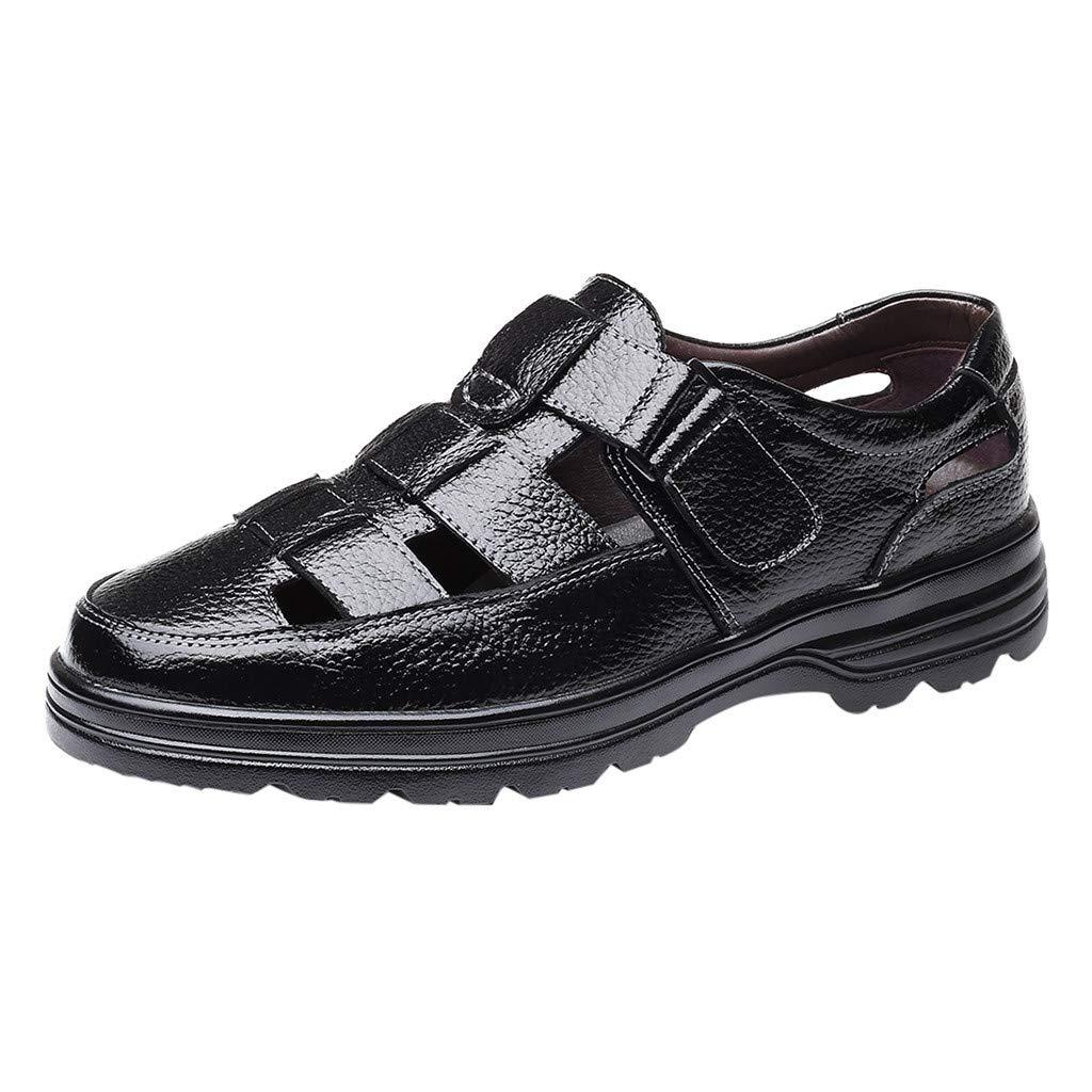 YKARITIANNA Fashion Men's Summer Casual Hollow Breathable Sandals Business Casual Sandals Black