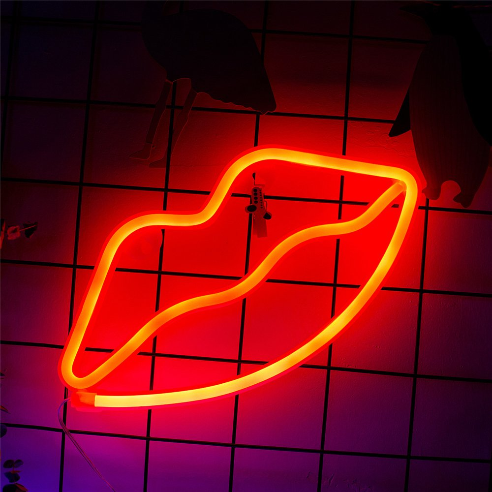 Neon Lip Sign Red, Battery Powered Neon Light, LED Lights Table Decoration,Girls Bedroom Wall Décor,Kids Birthday Gift,Wedding Party Supplies Neon Signs