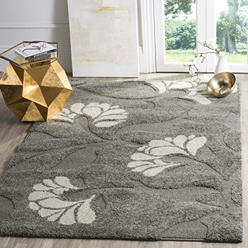 - Safavieh Florida Shag Collection SG459-8013 Grey and Beige Area Rug (4' x 6')
