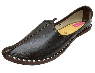 Schritt N Style Damen Ethnic Schuhe Khussa jutti Kameez Rajasthani Perlen Schuhe, Schwarz - schwarz - Größe: 37