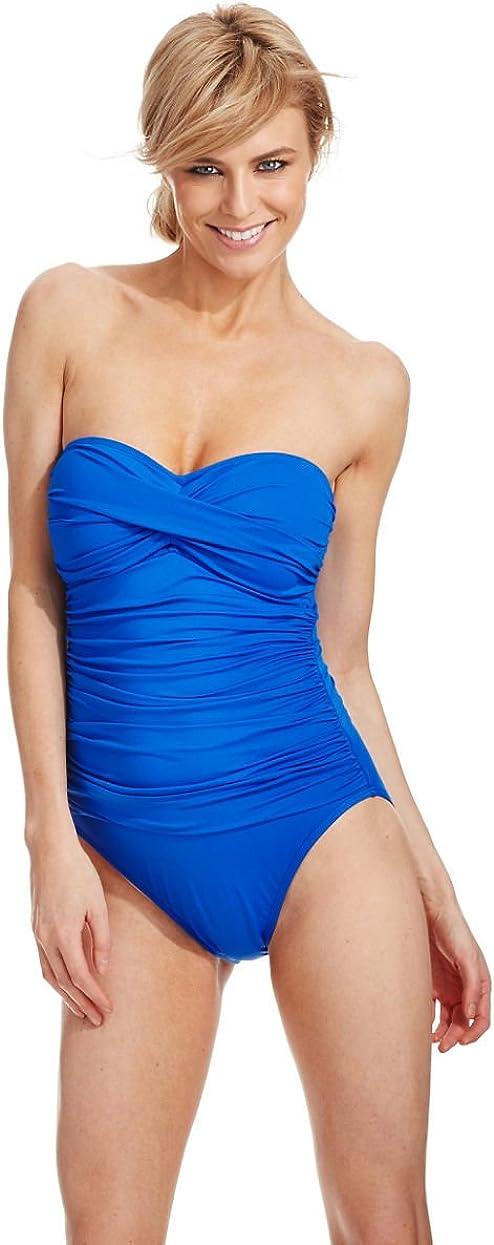 La Blanca Core Solids Bandeau One Piece Swimsuit 14//Cobalt LB5R020