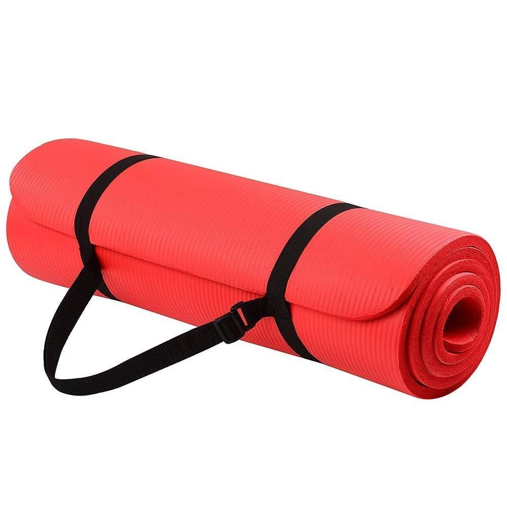 スポーツフィットネスノンスリップヨガマット涙耐性ヨガピラティスシットアップストレッチファミリージム完璧な選択男性と女性用調節可能ハンドストラップマルチカラーオプション (色 : 紫の) B07QW8P89X 赤 赤