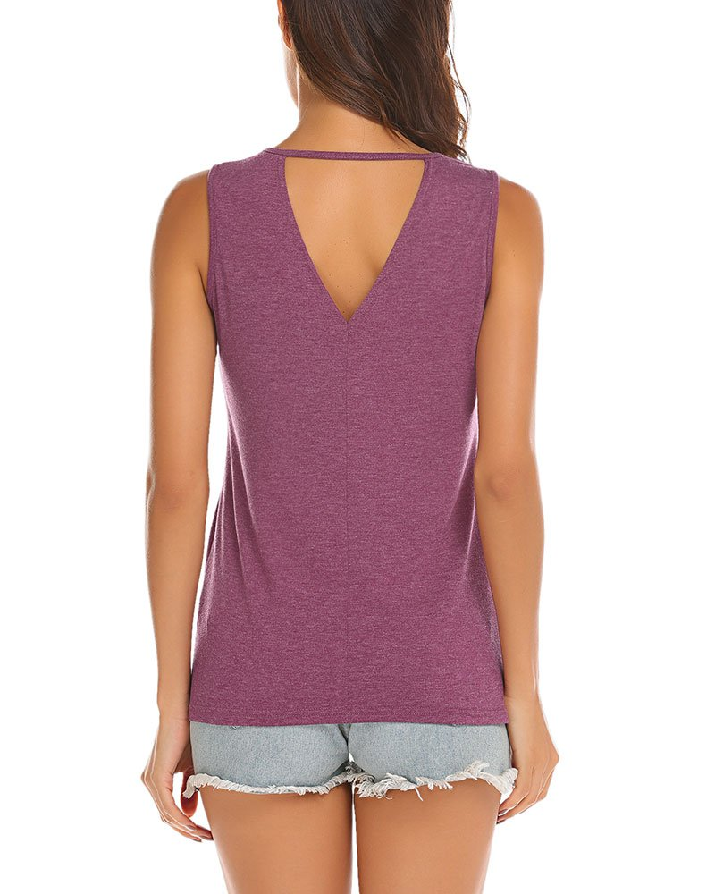 Poetsky Womens Summer Keyhole Tank Tops Cut Out Back Blouse (M, Wine Red)
