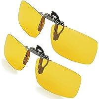 SPLAKS Clip on Sunglasses Polarized Sunglasses, 2 Pack Night Driving Flip Up Polarized Lenses Unisex Outdoors Frameless Rectangle Lenses Clip on Prescription Sunglasses Eyeglass Filter Strong Light-2 Night Driving Glasses