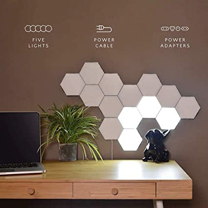huge discount 641f8 5bd8e DIY Quantum Lights,Hexagonal Wall Lamp Creative Geometry Assembly LED Night  Light Smart Dimmable Touch Sensitive Modular Lighting,16Pcs
