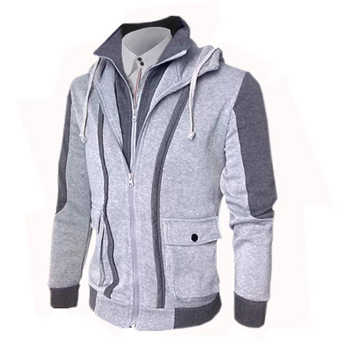 COCO clothing Chaquetas Hombre Cazadoras Casual Jacket Patchwork Sudaderas con Capucha Abrigos Caballero Cremallera (gris