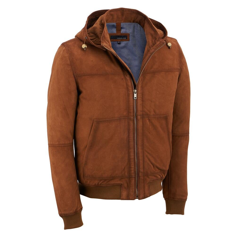 Wilsons Leather Mens Suede Bomber Jacket W/Hood L Tobacco