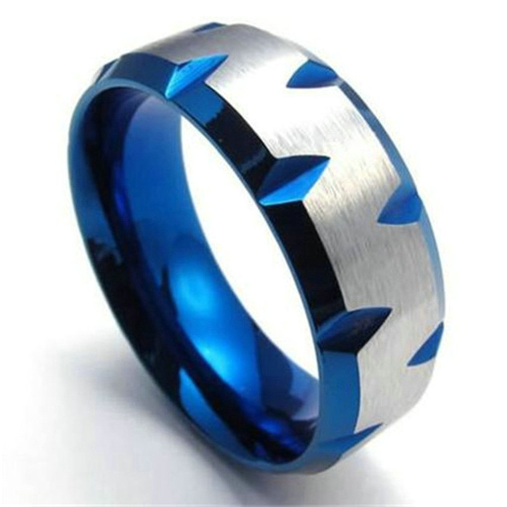 Bishilin 8MM Stainless Steel Two Tone Silver Blue Mens Wedding Rings Size 8
