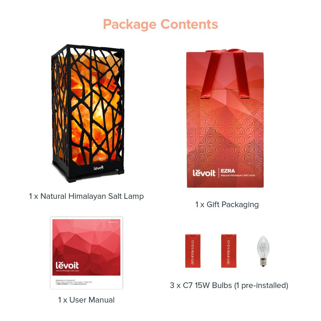 Levoit Ezra Himalayan Salt Lamp Hand Carved Natural Himilian Hymalain Pink Salt Rock Lamps with Metal Housing, Touch Brightness Dimmable Control, 3 Bulbs, UL-Listed Cord & Luxury Gift Box by LEVOIT (Image #9)