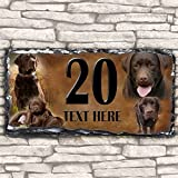 Custom Chocolate Labrador Dog House Slate Personalised Pet Name Number Sign - 30cm x 15cm by Krafty Gifts