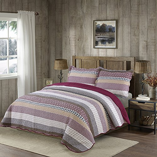 Cotton Patch Bedding - vivinna Cotton Quilt Twin size Sets Include Shams Patchwork Bedspread Blanket (Stripe, Twin:68