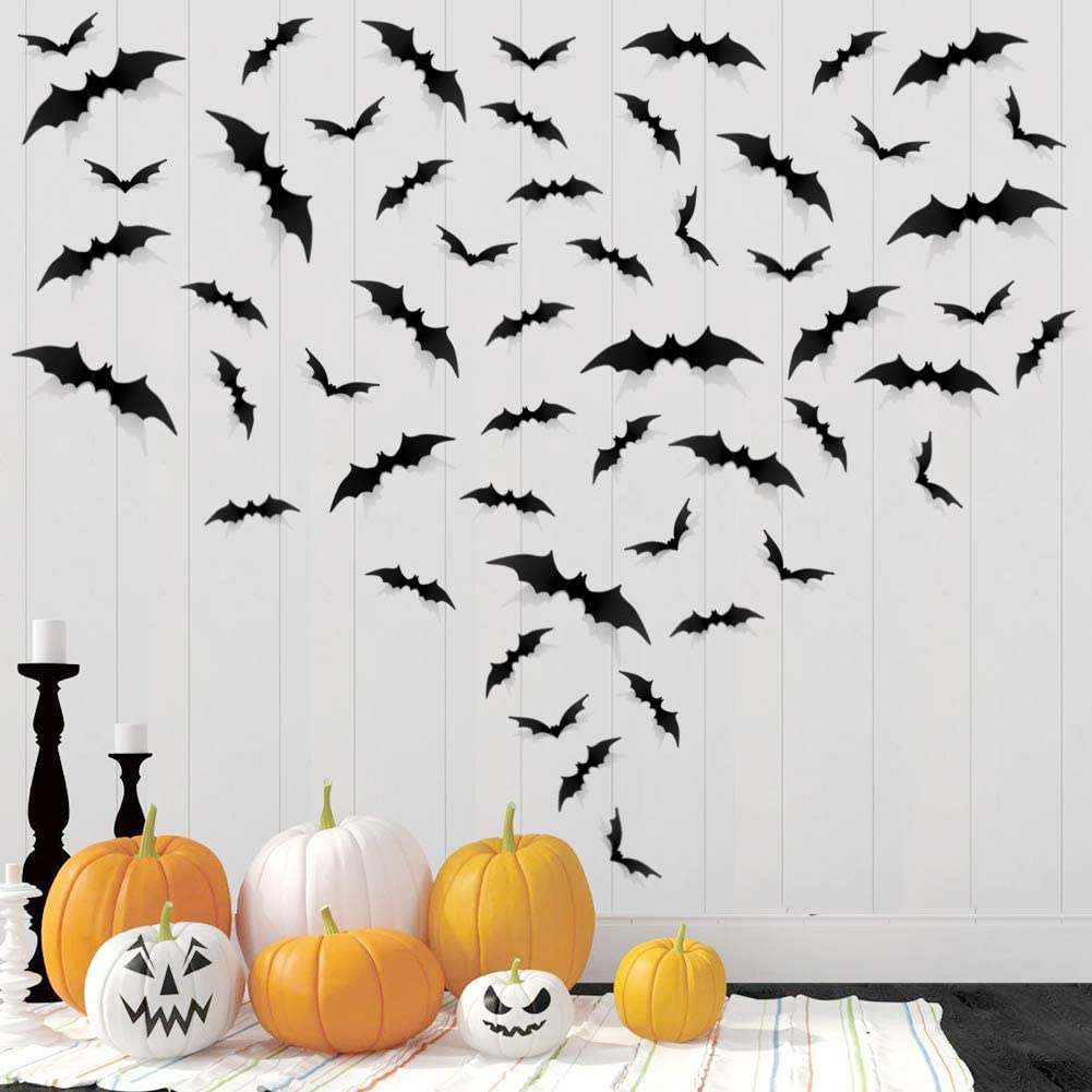 96 PCS Halloween DIY Scary 3D Bats Wall Decal Wall Stickers PVC for Home Window Clings Party Supplies Decorations Indoor Outdoor Décor