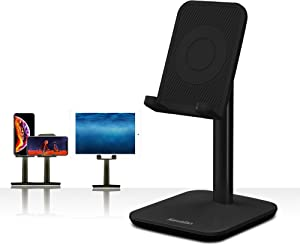 Upgraded Version Desktop Cell Phone Stand Tablet Holder, Height and Angle Adjustable Phone Holder Dock, Compatible with Tablet Up to 10.5 Inch (Black)