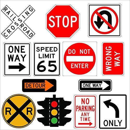 Wallmonkeys Traffic Signs Wall Decal Sticker Set Individual Peel and Stick Graphics on a (48 in H x 48 in W) Sticker Sheet WM498544