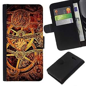 KingStore / Leather Etui en cuir / Sony Xperia M2 / Mecanismo interior de oro de Brown Tecnología