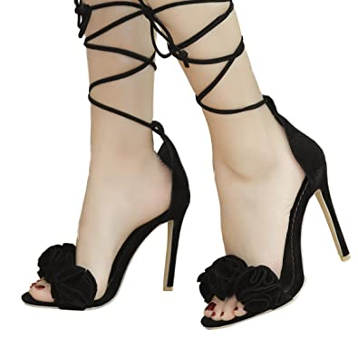 35db340d5 Inornever Sexy High Heels Sandals for Women Cross Strappy Fashion Open Toe  Black Wedding Pumps Shoes