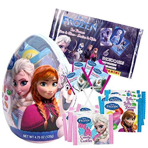 Frozen Géant en plastique rempli d'oeufs de Pâques avec 12 paquets de sucrerie et Panini aveugles Sac Photocard pack Bundle Lot de 2