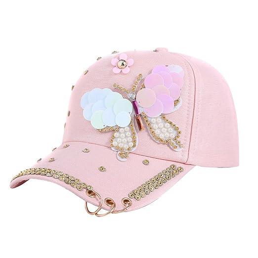 CSSD New Stylish Women s Baseball Hats Rhinestone Butterfly Decoration  Adjustable Caps (Pink) 284d3009545b