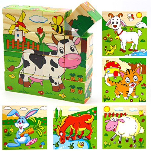 VolksRose 16 Pcs Wooden Cube Block Jigsaw Puzzles - Animal #1 Pattern Blocks Puzzle for Child 3 Year and ()