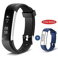 HolyHigh 115U Series Fitness Tracker Band Digital Black Dial Unisex Watch (Black and Blue)